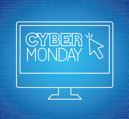 cyber monday neon in computer design, sale ecommerce shopping online theme Vector illustration