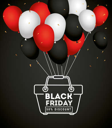 black friday and basket with balloons design, sale offer save and shopping theme Vector illustration