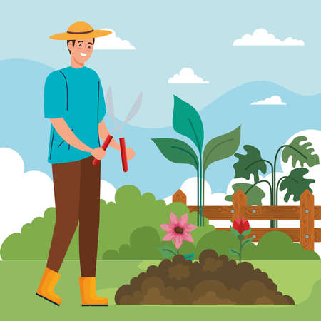 Gardening man with pliers and flowers design, garden planting and nature theme Vector illustration