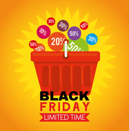 black friday with prices in basket design, sale offer save and shopping theme Vector illustration