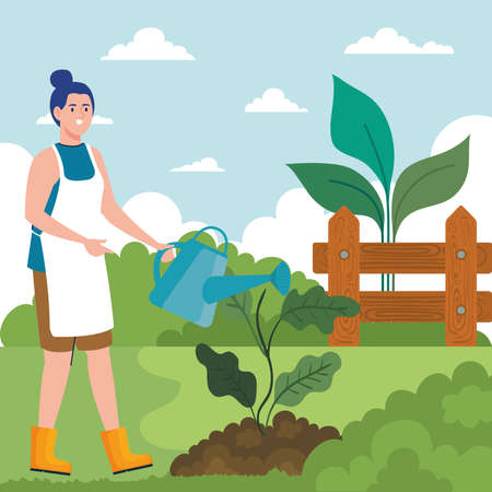 Gardening woman with watering can and plant design, garden planting and nature theme Vector illustration Vettoriali