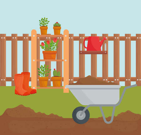 Gardening wheelbarrow and plants in pots design, garden planting and nature theme Vector illustration Vettoriali