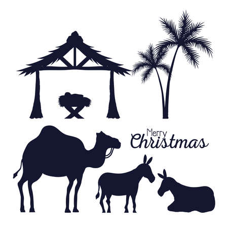 merry christmas and nativity icon collection silhouettes design, winter season and decoration theme Vector illustration