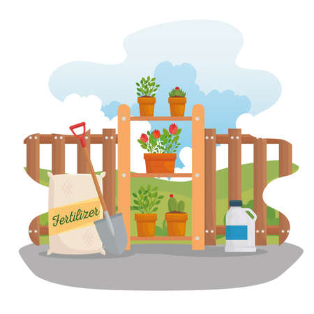 Gardening fertilizer bag shovel and plants design, garden planting and nature theme Vector illustration
