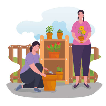 Gardening women with plants design, garden planting and nature theme Vector illustration