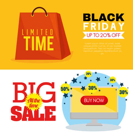 black friday bag and computer design, sale offer save and shopping theme Vector illustration  イラスト・ベクター素材