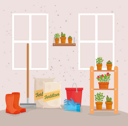Gardening fertilizer bags boots rake bucket gloves and plants design, garden planting and nature theme Vector illustration