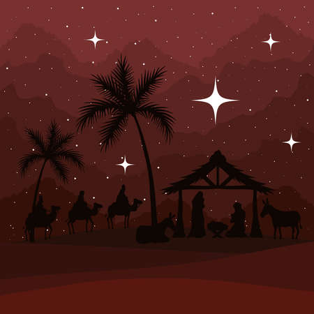 nativity mary joseph baby and wise men on red background design, merry christmas theme Vector illustration