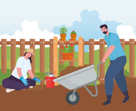 Gardening man and woman with wheelbarrow and plants design, garden planting and nature theme Vector illustration 向量圖像