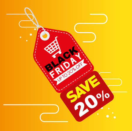 black friday label design, sale offer save and shopping theme Vector illustration  イラスト・ベクター素材