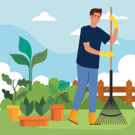 Gardening man with rake and plants inside pots design, garden planting and nature theme Vector illustration 向量圖像