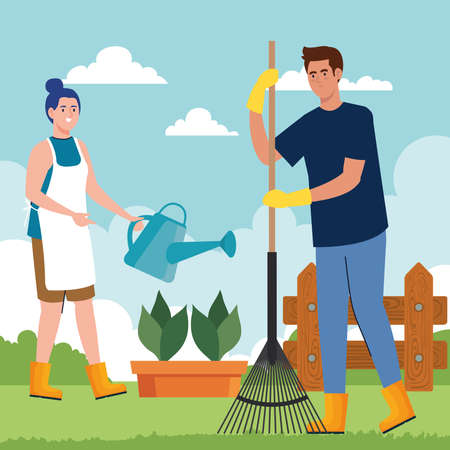 Gardening man and woman with rake and watering can design, garden planting and nature theme Vector illustration Vettoriali