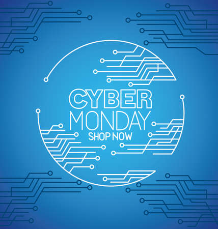 cyber monday with circuit on blue background design, sale ecommerce shopping online theme Vector illustration