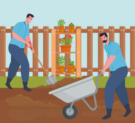 Gardening men with wheelbarrow and shovel design, garden planting and nature theme Vector illustration