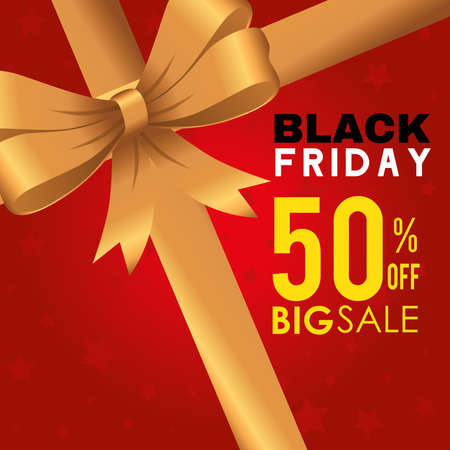 black friday with bowtie design, sale offer save and shopping theme Vector illustration  イラスト・ベクター素材
