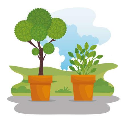 Gardening plants inside pots design, garden planting and nature theme Vector illustration