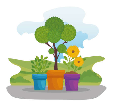 Gardening plant and flowers with leaves in pots design, garden planting and nature theme Vector illustration