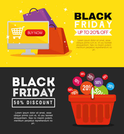 black friday computer bags and basket design, sale offer save and shopping theme Vector illustration