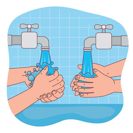 hands washing with water taps design, Hygiene wash health and clean theme Vector illustration