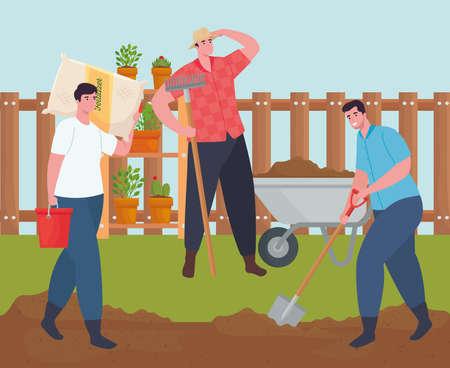 Gardening men with wheelbarrow fertilizer bag rake and shovel design, garden planting and nature theme Vector illustration 向量圖像