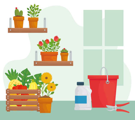 Gardening plants pots bucket bottle and pliers design, garden planting and nature theme Vector illustration