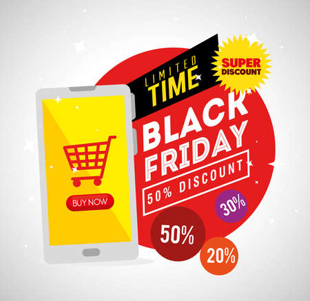 black friday and smartphone with cart design, sale offer save and shopping theme Vector illustration  イラスト・ベクター素材