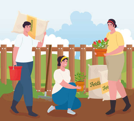Gardening women and man with fertilizer bags plants and bucket design, garden planting and nature theme Vector illustration