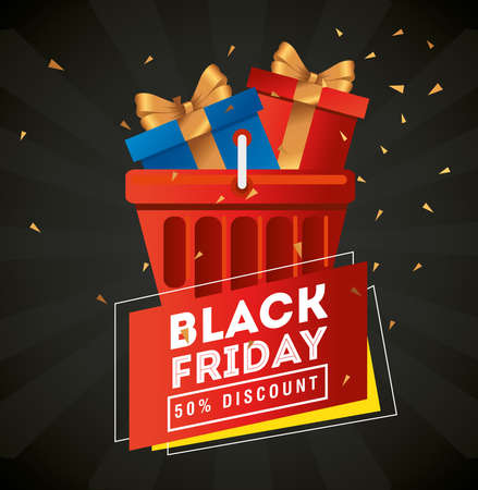 black friday with gifts in basket design, sale offer save and shopping theme Vector illustration  イラスト・ベクター素材