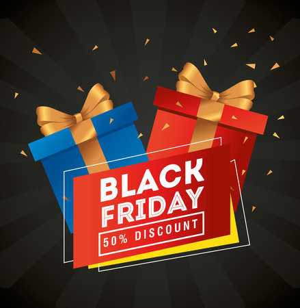black friday gifts design, sale offer save and shopping theme Vector illustration