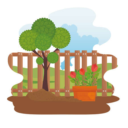 Gardening plant and flowers in pot design, garden planting and nature theme Vector illustration