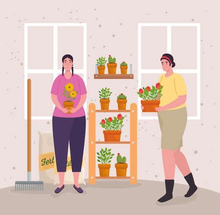 Gardening women with plants fertilizer bags and rake design, garden planting and nature theme Vector illustration