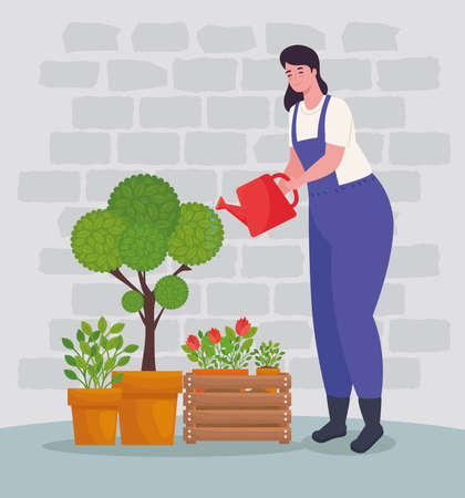 Gardening woman with watering can and plants design, garden planting and nature theme Vector illustration