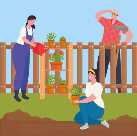 Gardening women and man with plants and watering can design, garden planting and nature theme Vector illustration