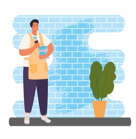 man painting wall design of Activity and leisure theme Vector illustration