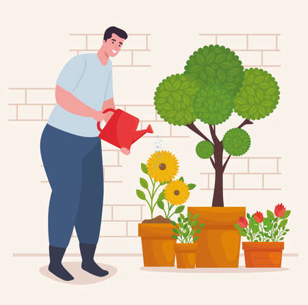 Gardening man with watering can and plants design, garden planting and nature theme Vector illustration