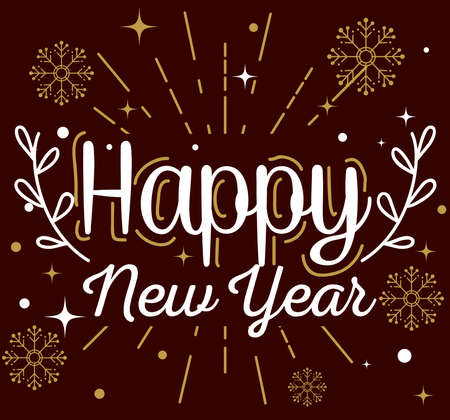 Happy new year with snowflakes design, Welcome celebrate and greeting theme Vector illustration