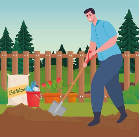 Gardening man with shovel design, garden planting and nature theme Vector illustration