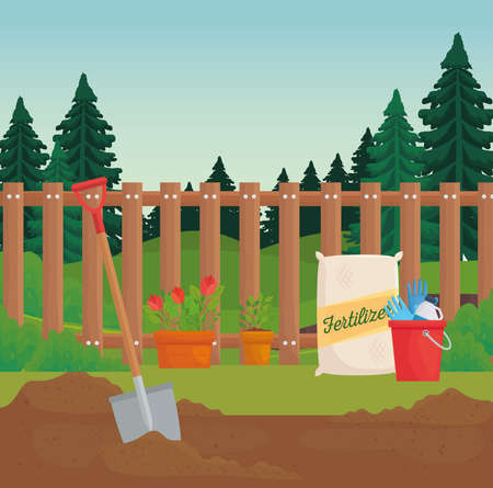 Gardening fertilizer bag plants and shovel design, garden planting and nature theme Vector illustration 向量圖像