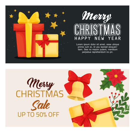 merry christmas happy new year sale and gifts design, winter season and decoration theme Vector illustration
