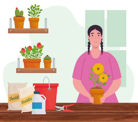 Gardening woman with flowers pots design, garden planting and nature theme Vector illustration