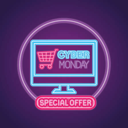 cyber monday neon with cart in computer design, sale ecommerce shopping online theme Vector illustration
