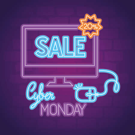 cyber monday neon with computer and mouse design, sale ecommerce shopping online theme Vector illustration