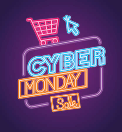 cyber monday neon with cart and cursor design, sale ecommerce shopping online theme Vector illustration