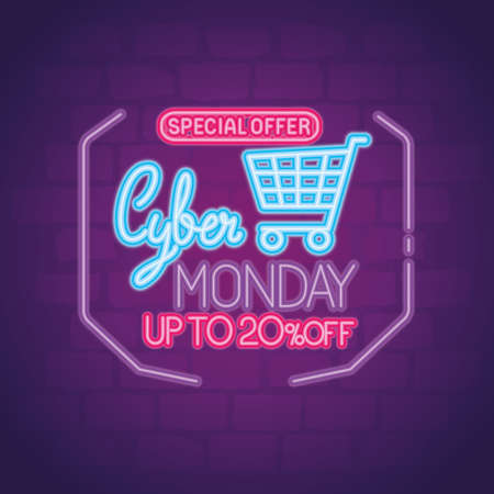 cyber monday neon with cart design, sale ecommerce shopping online theme Vector illustration