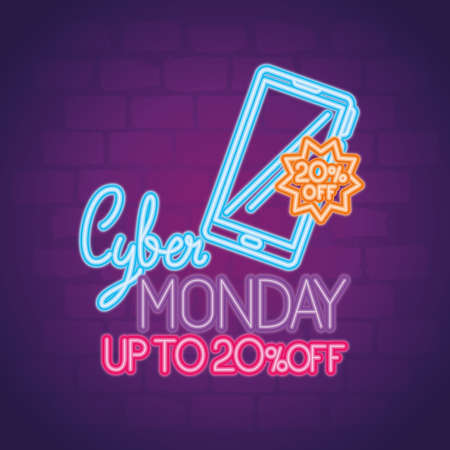 cyber monday neon with smartphone design, sale ecommerce shopping online theme Vector illustration