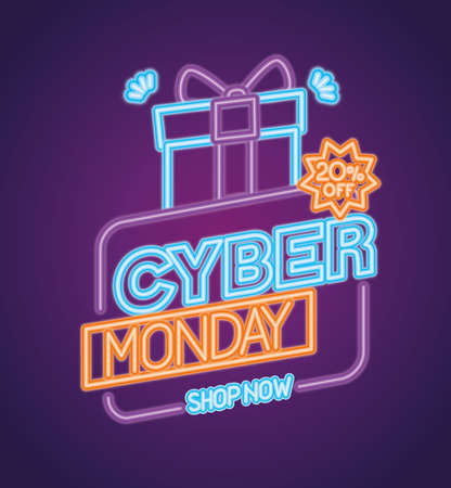 cyber monday neon with gift design, sale ecommerce shopping online theme Vector illustration  イラスト・ベクター素材