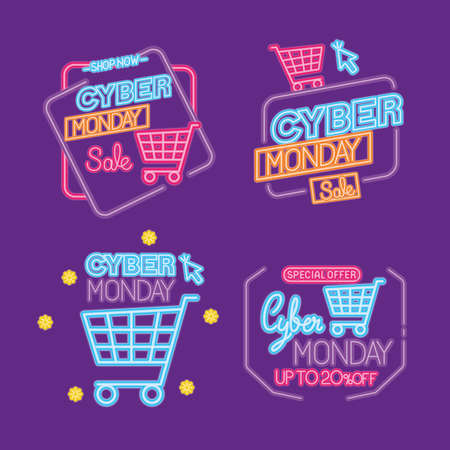 cyber monday neon icon collection design, sale ecommerce shopping online theme Vector illustration