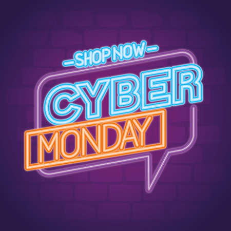 cyber monday neon in bubble design, sale ecommerce shopping online theme Vector illustration