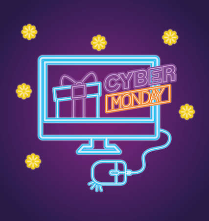 cyber monday neon with gift in computer design, sale ecommerce shopping online theme Vector illustration