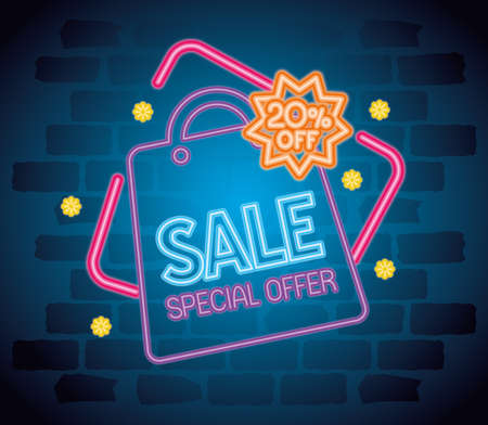 cyber monday neon with bag design, sale ecommerce shopping online theme Vector illustration